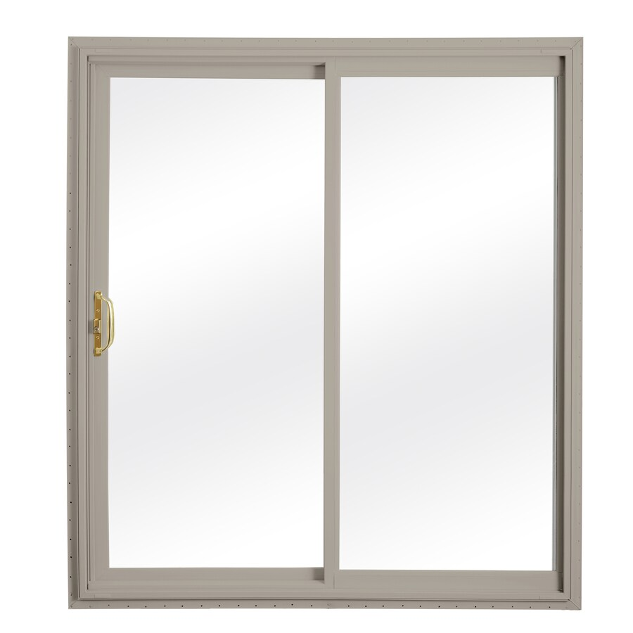 ReliaBilt 332 Series 58.75-in Clear Glass Wh Int/Clay Ext Vinyl Sliding Patio Door with Screen