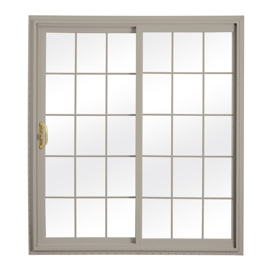 ReliaBilt 332 Series 70.75-in Grilles Between the Glass Wh Int/Clay Ext Vinyl Sliding Patio Door with Screen