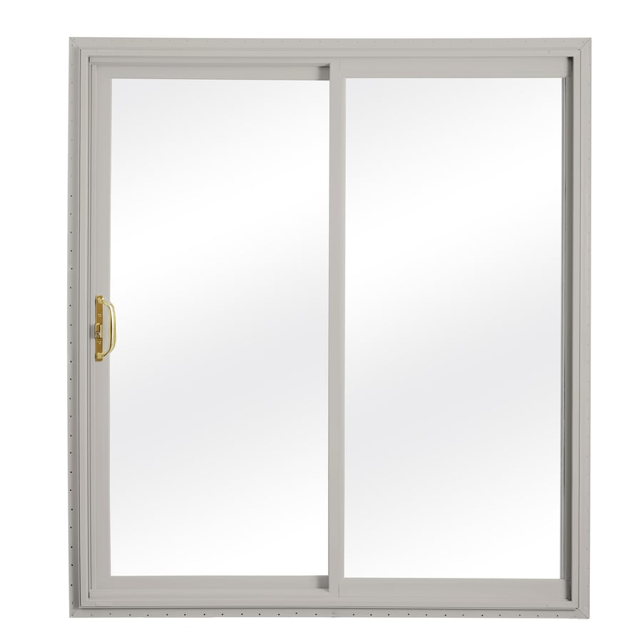 ReliaBilt 332 Series 58.75-in Clear Glass Wh Int/Gray Ext Vinyl Sliding Patio Door with Screen
