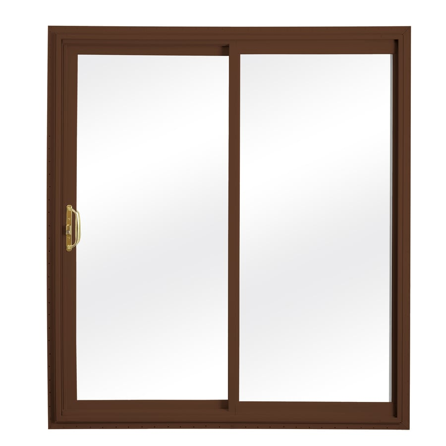 ReliaBilt 332 Series 70.75-in Clear Glass Wh Int/Chocolate Brown Ext Vinyl Sliding Patio Door with Screen