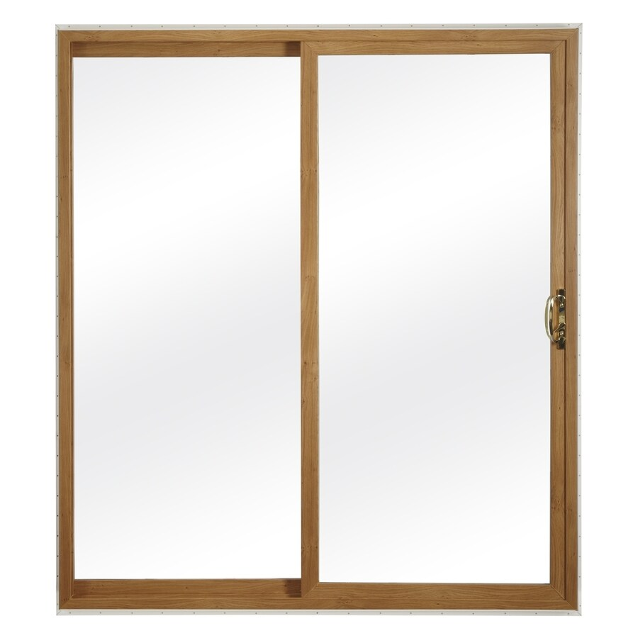 ReliaBilt 300 Series 58.75-in Clear Glass Light Oak Int White Ext Vinyl Sliding Patio Door with Screen