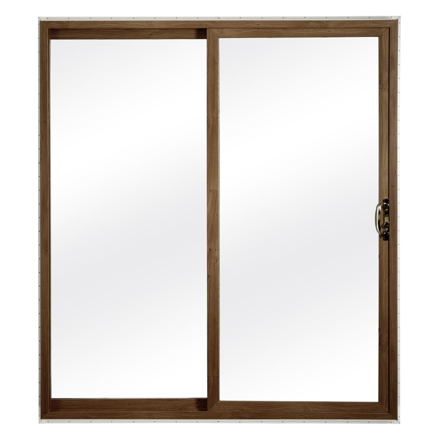 ReliaBilt 300 Series 58.75-in Clear Glass Dark Oak Int White Ext Vinyl Sliding Patio Door with Screen