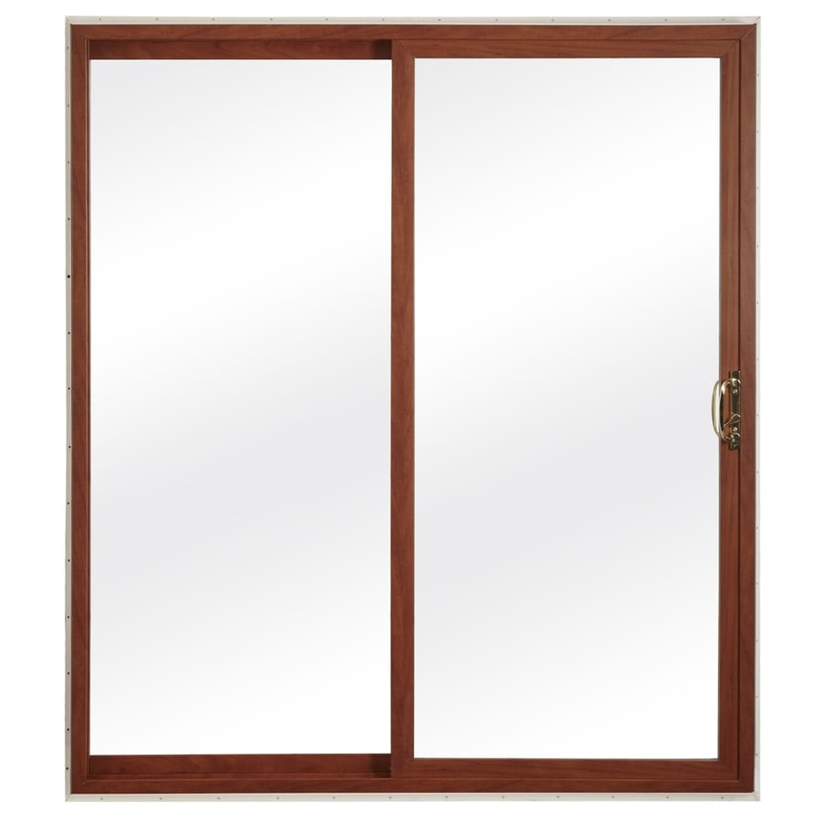 ReliaBilt 300 Series 70.75-in Clear Glass Cherry Int White Ext Vinyl Sliding Patio Door with Screen