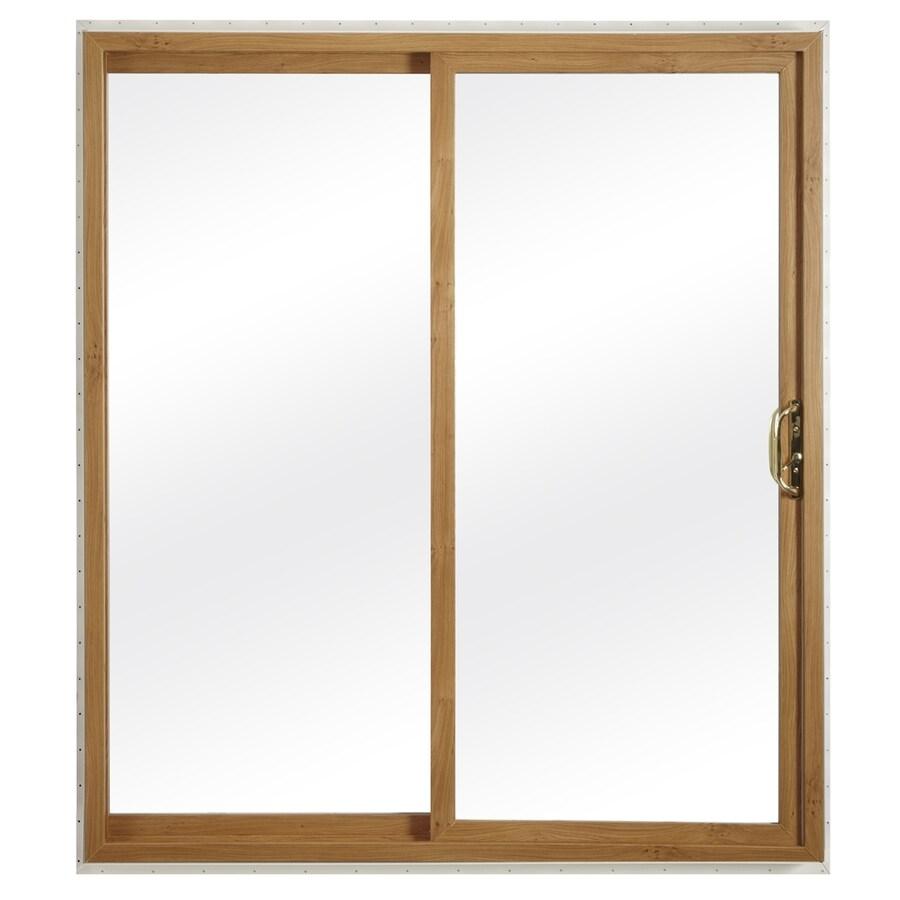 ReliaBilt 332 Series 59.75-in Clear Glass Light Oak Int White Ext Vinyl Sliding Patio Door with Screen