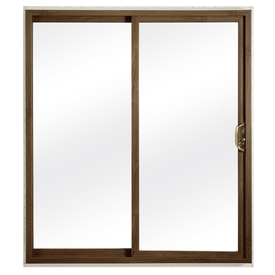 ReliaBilt 332 Series 59.75-in Clear Glass Dark Oak Int White Ext Vinyl Sliding Patio Door with Screen