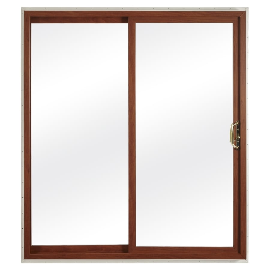 ReliaBilt 332 Series 59.75-in Clear Glass Cherry Int White Ext Vinyl Sliding Patio Door with Screen