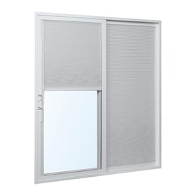 ReliaBilt Blinds Between The Glass White Vinyl Right-Hand Double Door Sliding Patio Door (Common: 72-in x 80-in; Actual: 70.75-in x 79.5-in)