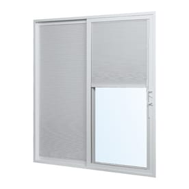 ReliaBilt Reliabilt Blinds Between The Glass White Vinyl Left-Hand Sliding Double Door Sliding Patio Door (Common: 72-in x 80-in; Actual: 70.75-in x 79.5-in)