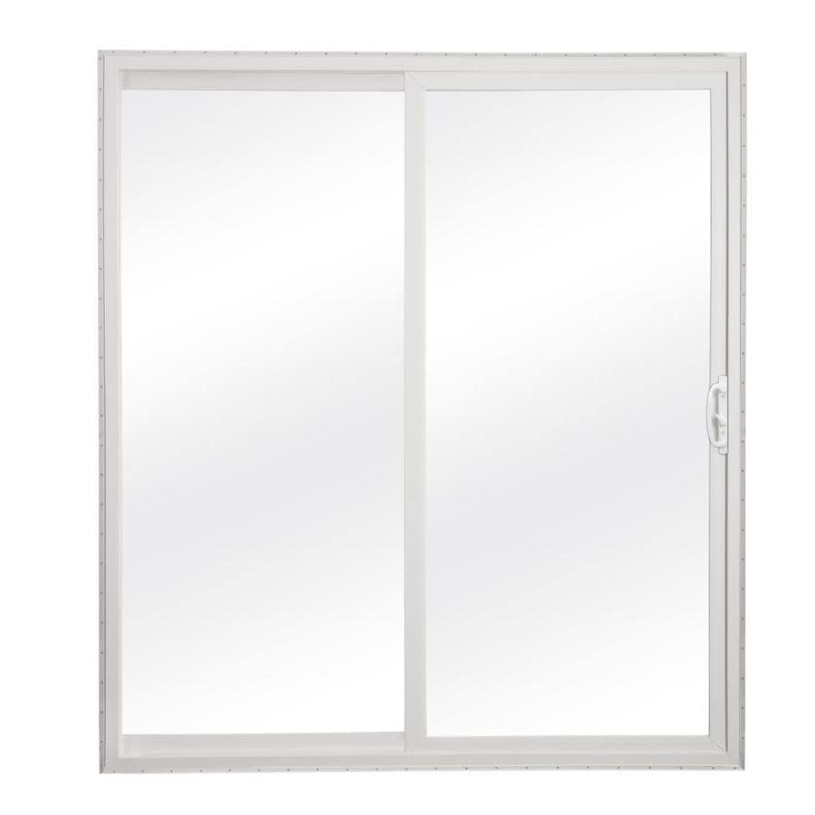 clear glass white vinyl sliding patio door at