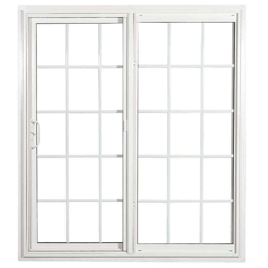 ReliaBilt 332 70.75-in x 79.5-in Grilles Between the Glass Reversible White Vinyl Sliding Patio Door with Screen