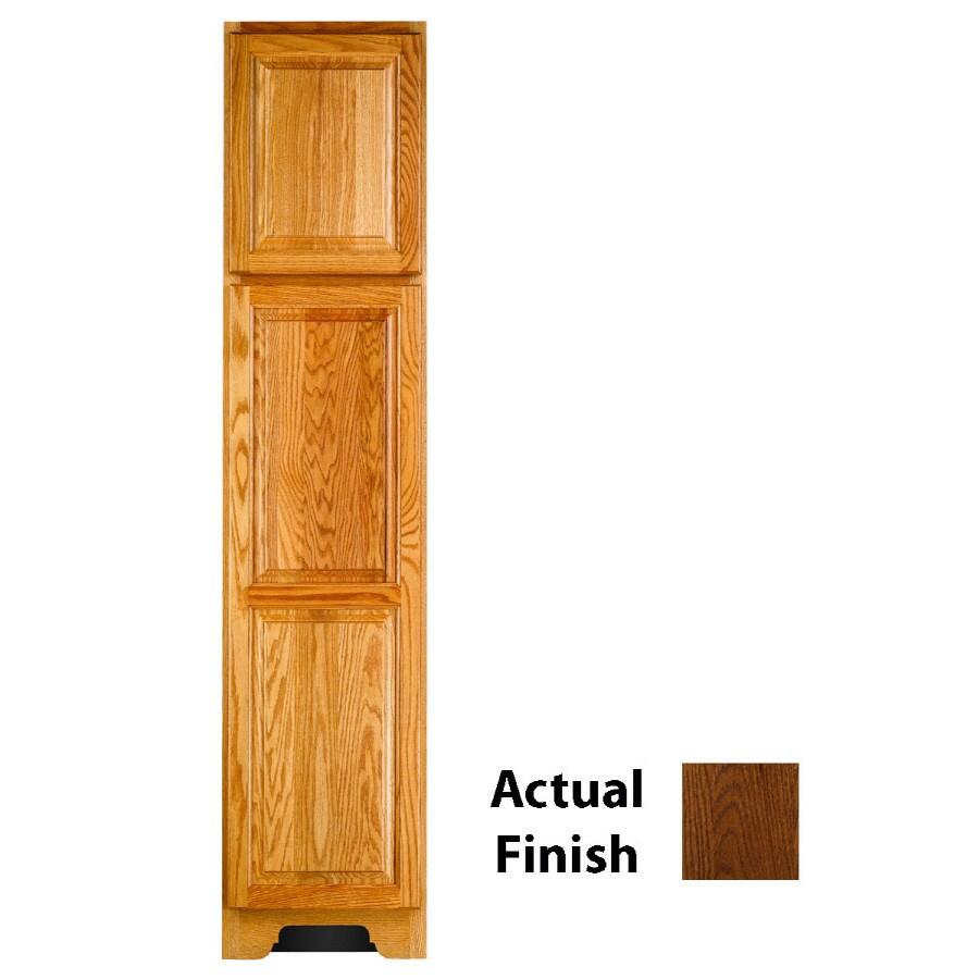 KraftMaid 18-in W x 83.5-in H x 18.88-in D Cognac Oak Freestanding Linen Cabinet