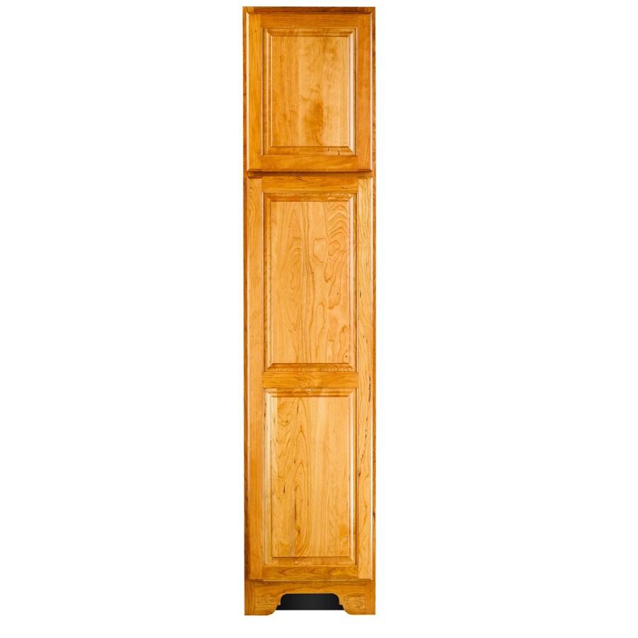 KraftMaid 18-in W x 83.5-in H x 21.88-in D Honey Spice Cherry Freestanding Linen Cabinet