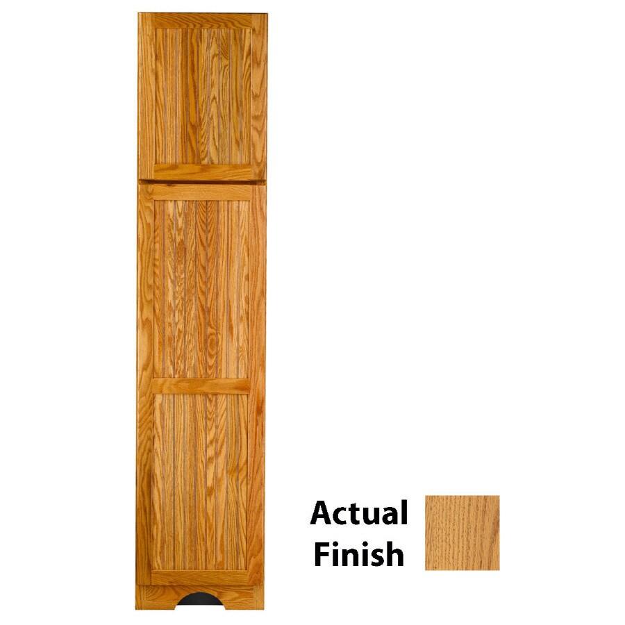 KraftMaid 18-in W x 83.5-in H x 18.88-in D Honey Spice Oak Freestanding Linen Cabinet