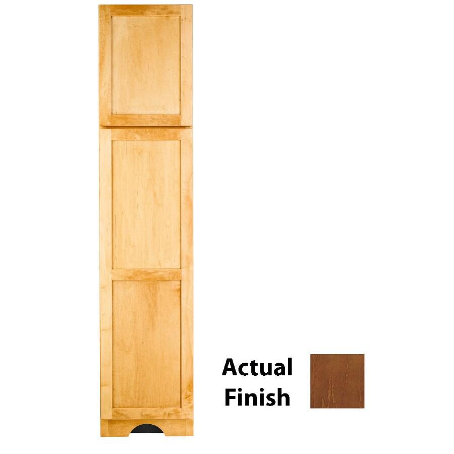 KraftMaid 18-in W x 83.5-in H x 21.88-in D Cognac Maple Freestanding Linen Cabinet