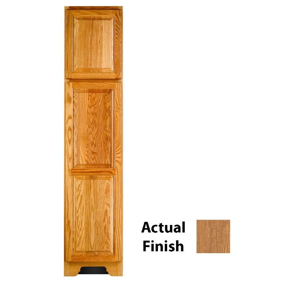 KraftMaid 18-in W x 83.5-in H x 21.88-in D Fawn Oak Freestanding Linen Cabinet