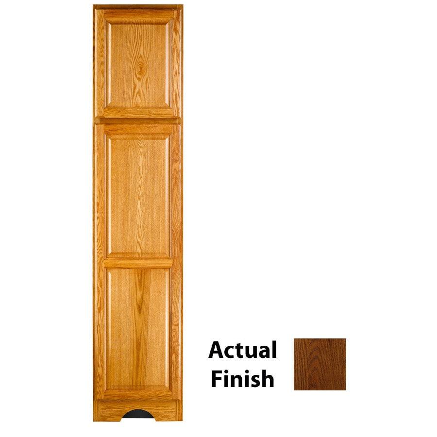 KraftMaid 18-in W x 83.5-in H x 21.88-in D Cognac Oak Freestanding Linen Cabinet
