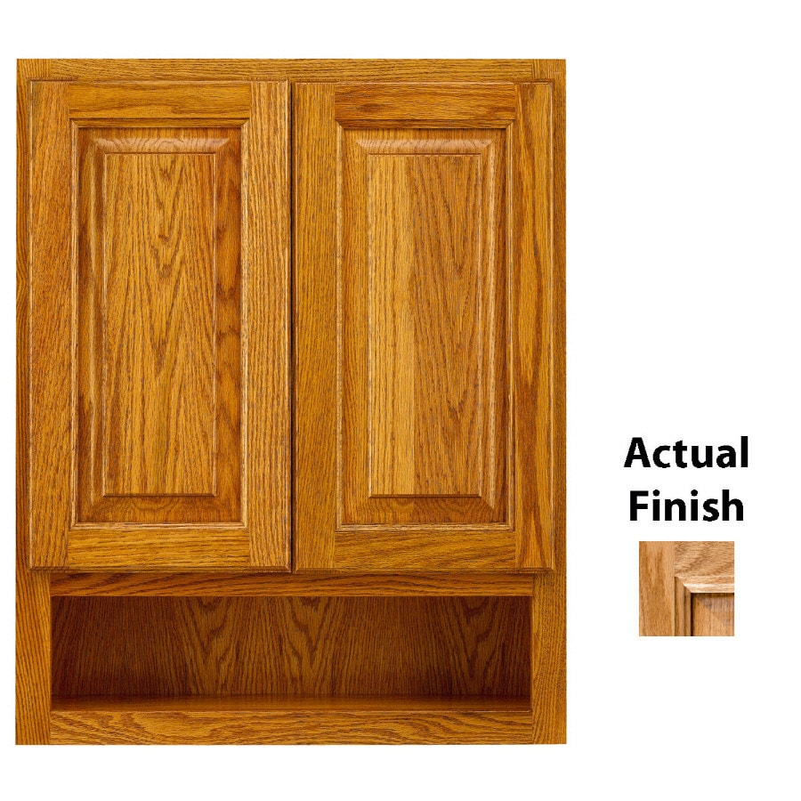 oak bathroom wall cabinets shop kraftmaid 24 in w x 30 in h x 7 in d nutmeg glaze 23823