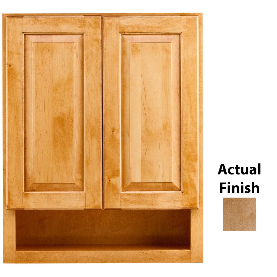 Shop kraftmaid 24 in w x 30 in h x 7 in d toffee maple for Bathroom cabinets kraftmaid