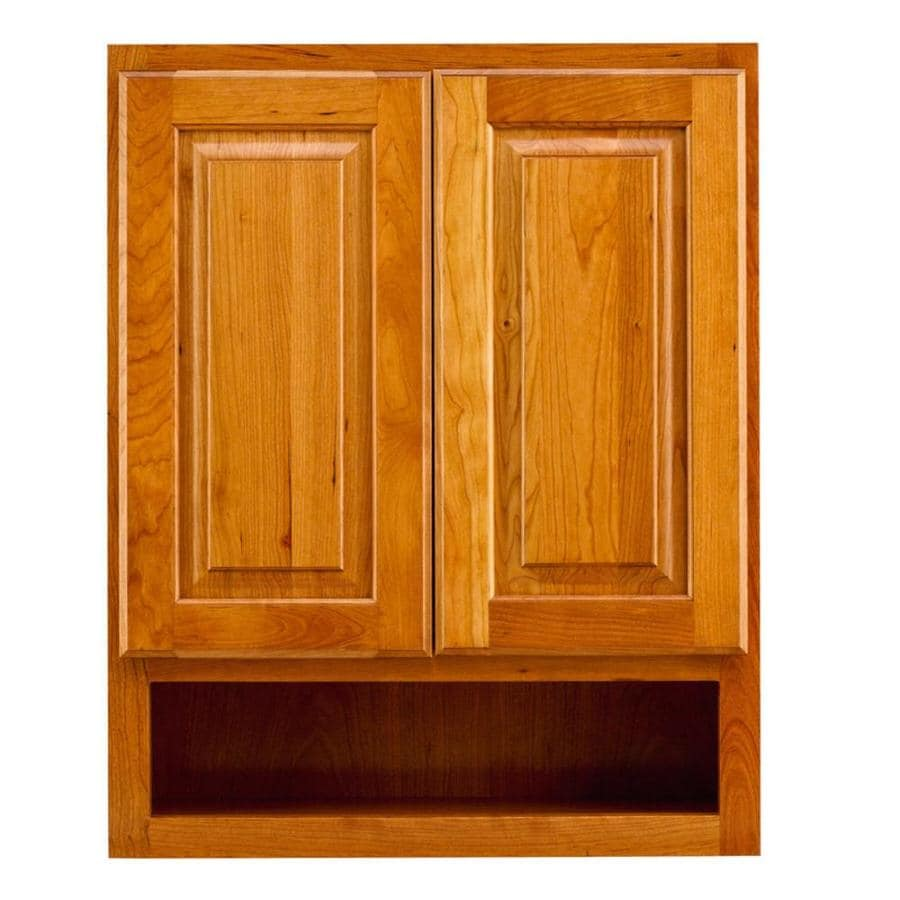 KraftMaid 24-in W x 30-in H x 7-in D Honey Spice Cherry Bathroom Wall Cabinet