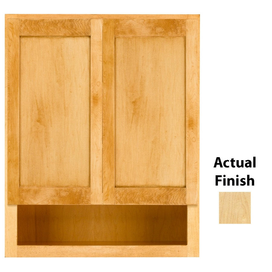 KraftMaid 24-in W x 30-in H x 7-in D Natural Maple Bathroom Wall Cabinet
