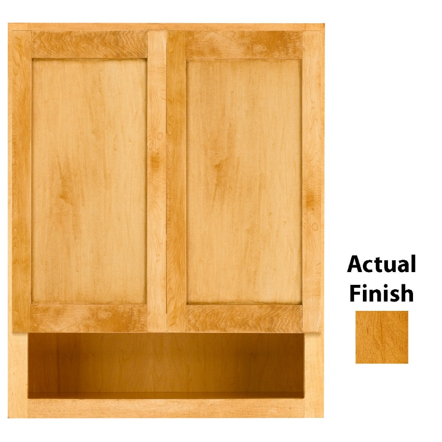 KraftMaid 24-in W x 30-in H x 7-in D Honey Spice Maple Bathroom Wall Cabinet