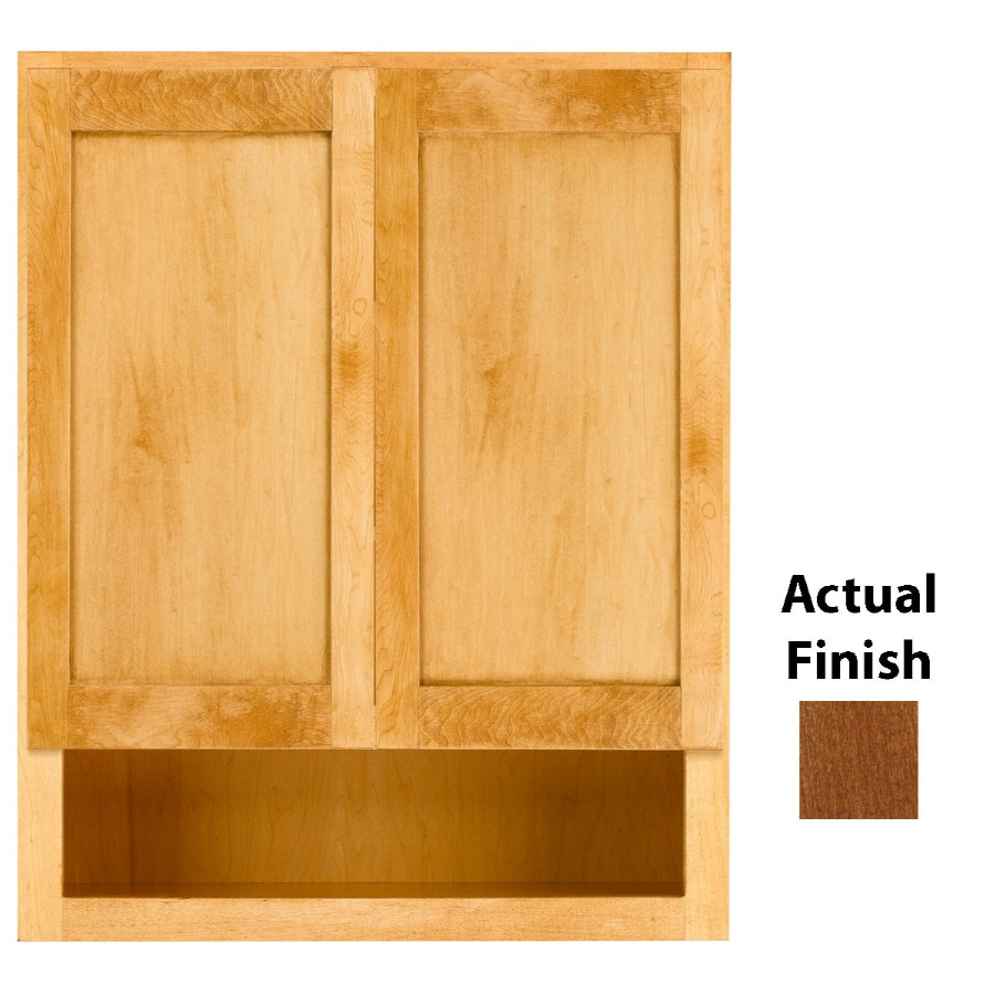 KraftMaid 24-in W x 30-in H x 7-in D Chestnut Maple Bathroom Wall Cabinet