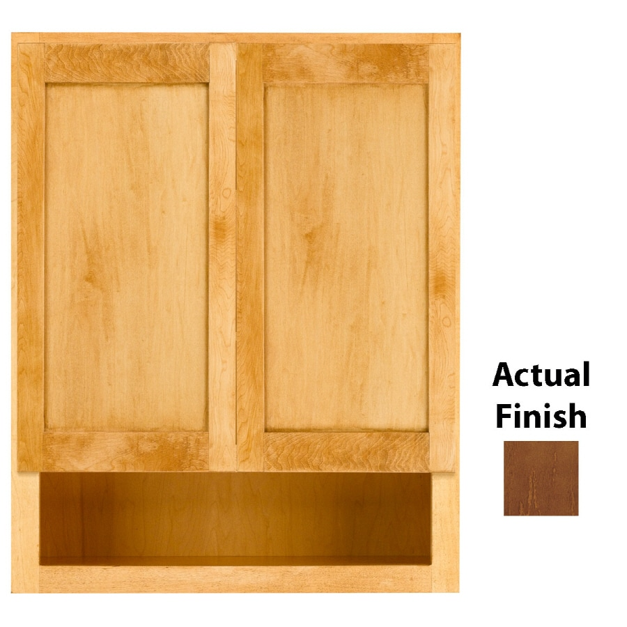bathroom wall cabinet wood shop kraftmaid 24 in w x 30 in h x 7 in d cognac bathroom 11842