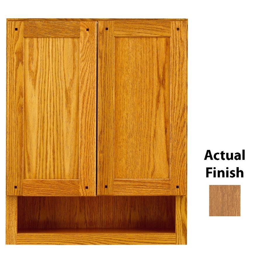 KraftMaid 24-in W x 30-in H x 7-in D Fawn Oak Bathroom Wall Cabinet