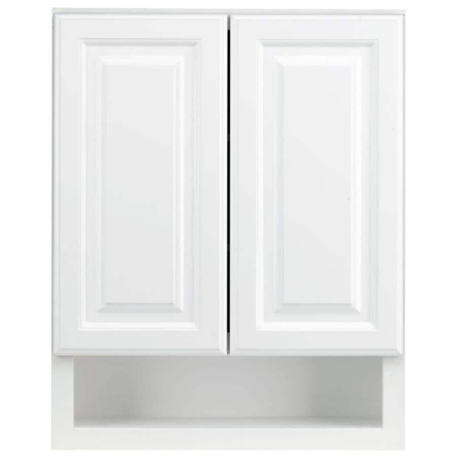 Shop kraftmaid 24 in w x 30 in h x 7 in d white bathroom for In wall bathroom storage