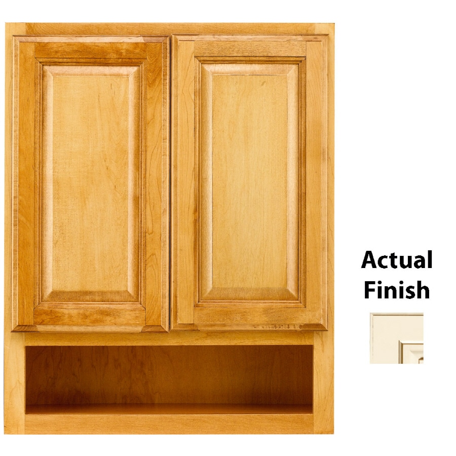KraftMaid 24-in W x 30-in H x 7-in D Vanilla Bean Glaze Maple Bathroom Wall Cabinet