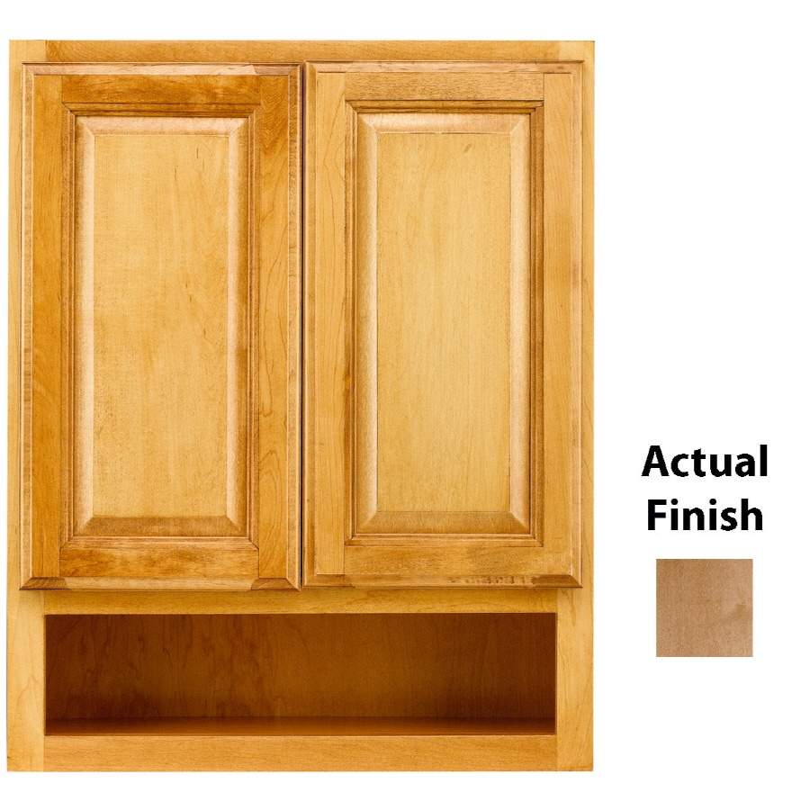 KraftMaid 24-in W x 30-in H x 7-in D Toffee Maple Bathroom Wall Cabinet