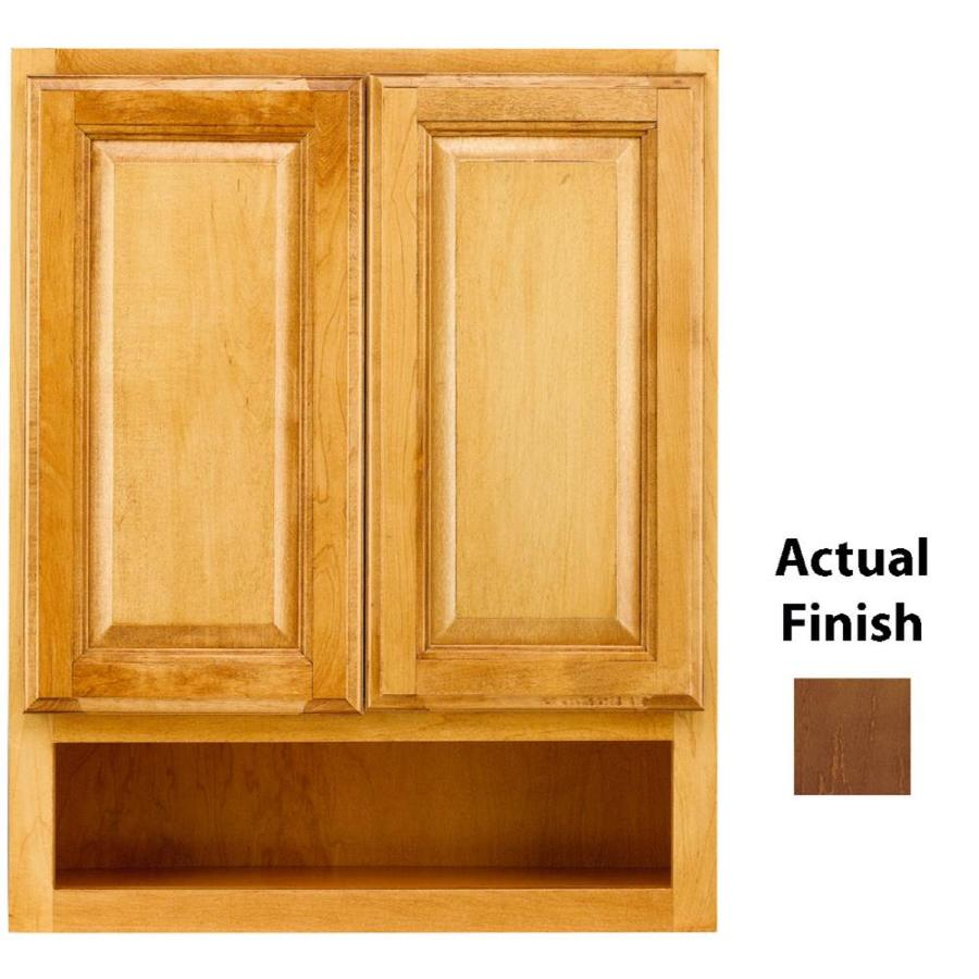 Shop kraftmaid 24 in w x 30 in h x 7 in d cognac bathroom for Bathroom cabinets kraftmaid