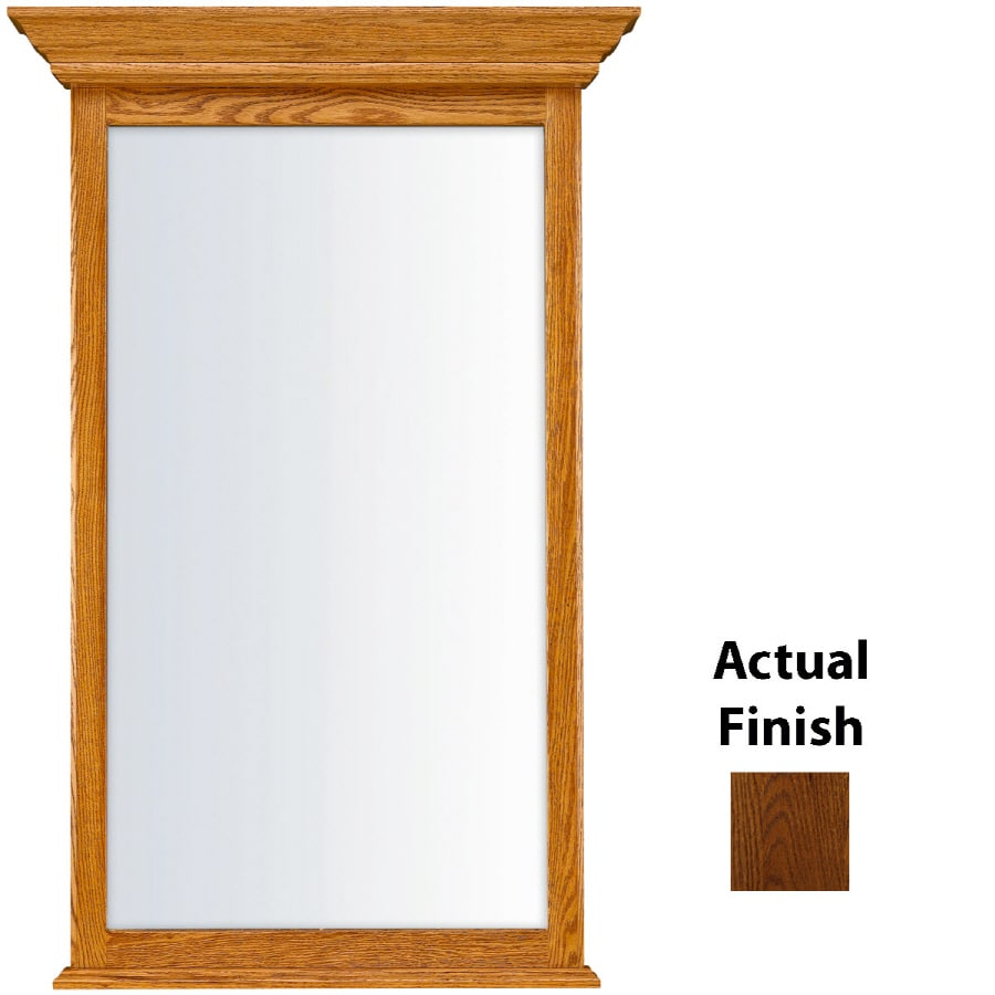 KraftMaid 25.44-in W x 40.75-in H Cognac Rectangular Bathroom Mirror