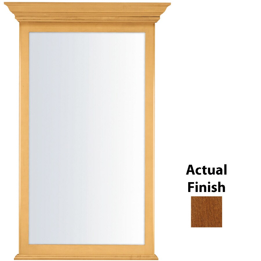 KraftMaid 25.44-in x 40.75-in Chestnut Rectangular Framed Bathroom Mirror