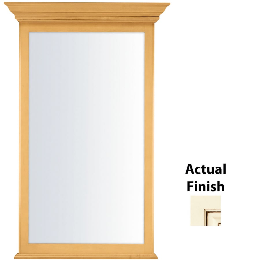 KraftMaid 25.44-in W x 40.75-in H Biscotti with Cocoa Glaze Rectangular Bathroom Mirror