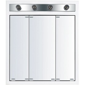 'KraftMaid Cottage 30-in x 35-in Square Surface/Recessed Mirrored Wood Medicine Cabinet Lighted' from the web at 'https://mobileimages.lowes.com/product/converted/719839/719839698585lg.jpg'