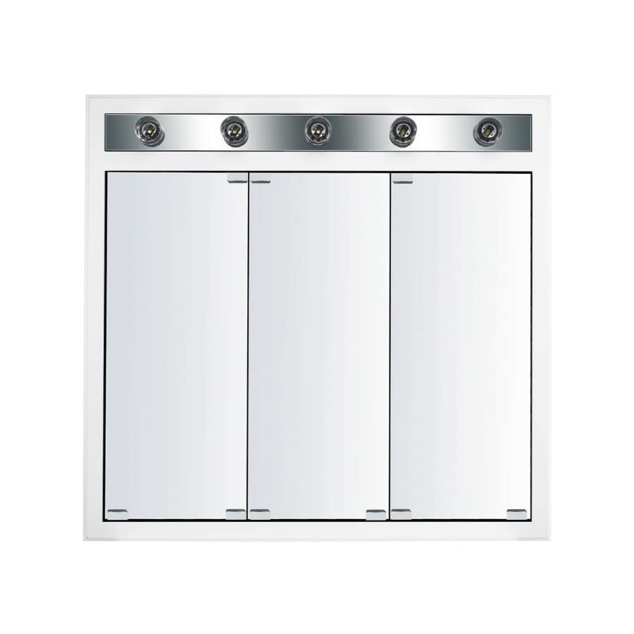 Kraftmaid Cottage 35 In X 33 Square Surface Recessed Mirrored Wood Medicine Cabinet With Light