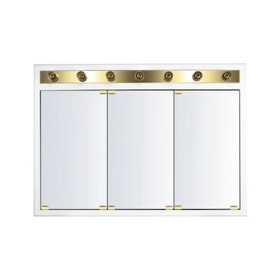 Kraftmaid Cottage 47 In X 33 In Square Surface Recessed Mirrored Wood Medicine Cabinet With