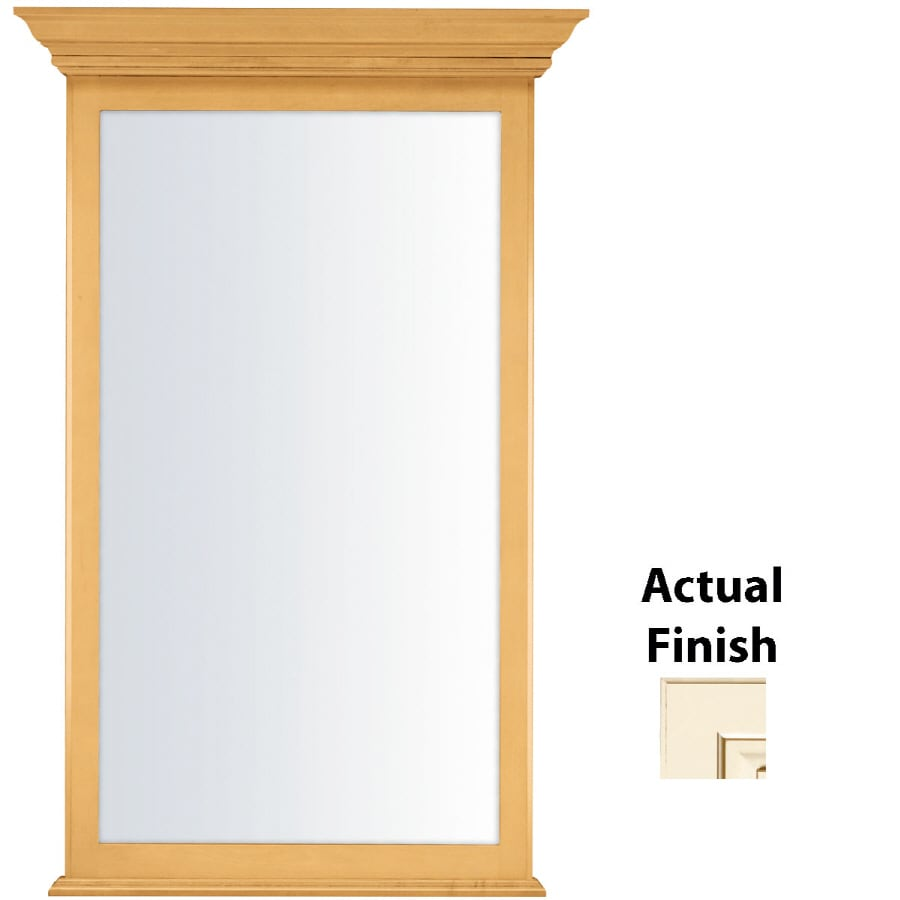 KraftMaid 25.44-in W x 40.75-in H Canvas with Cocoa Glaze Rectangular Bathroom Mirror