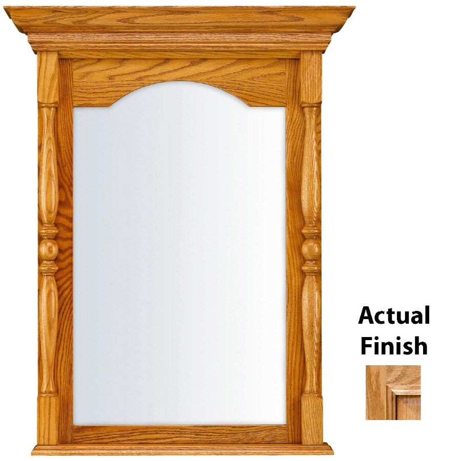 KraftMaid 28.95-in W x 37.05-in H Honey Spice with Mocha Highlight Rectangular Bathroom Mirror