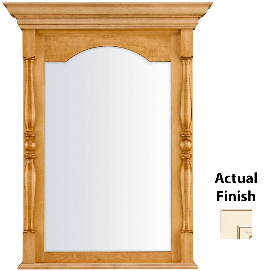 KraftMaid 28.95-in W x 37.05-in H Canvas with Cocoa Glaze Rectangular Bathroom Mirror