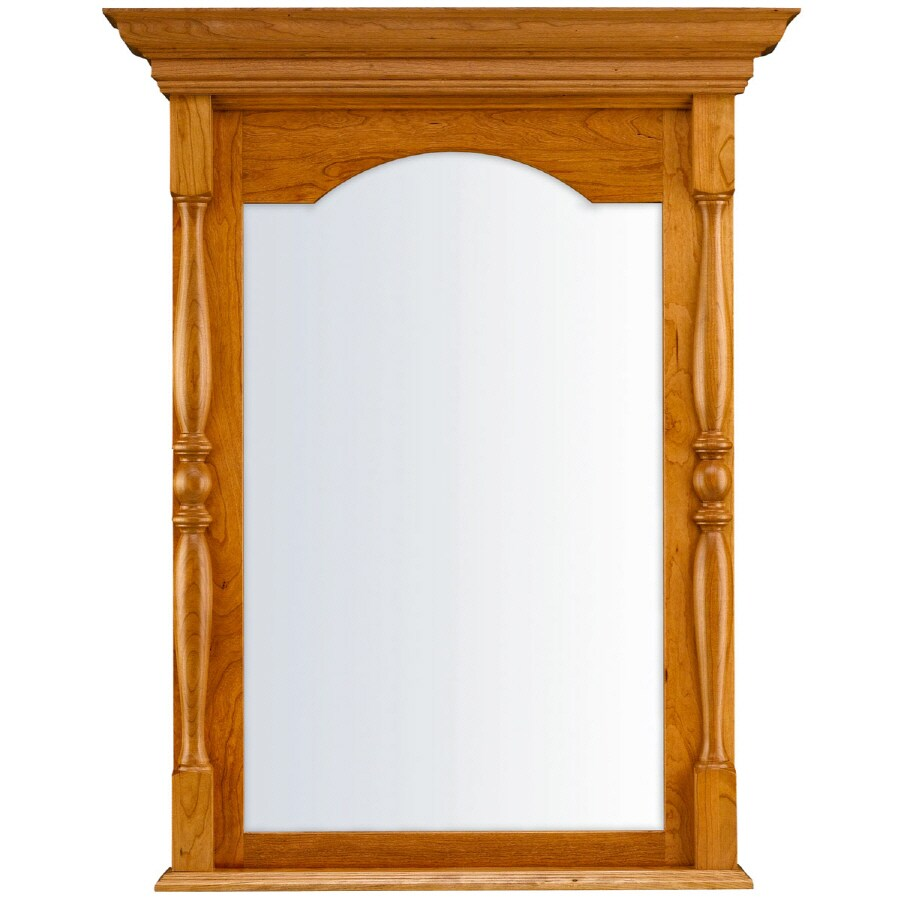 KraftMaid 28.95-in W x 37.05-in H Honey Spice Rectangular Bathroom Mirror