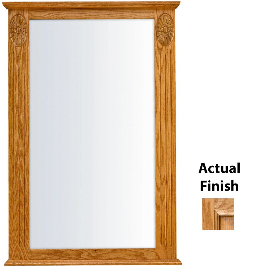 KraftMaid 25.25-in W x 37.5-in H Honey Spice with Mocha Highlight Rectangular Bathroom Mirror