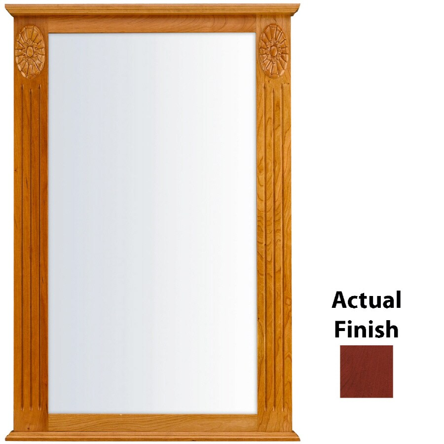 KraftMaid 25.25-in x 37.5-in Cabernet Rectangular Framed Bathroom Mirror