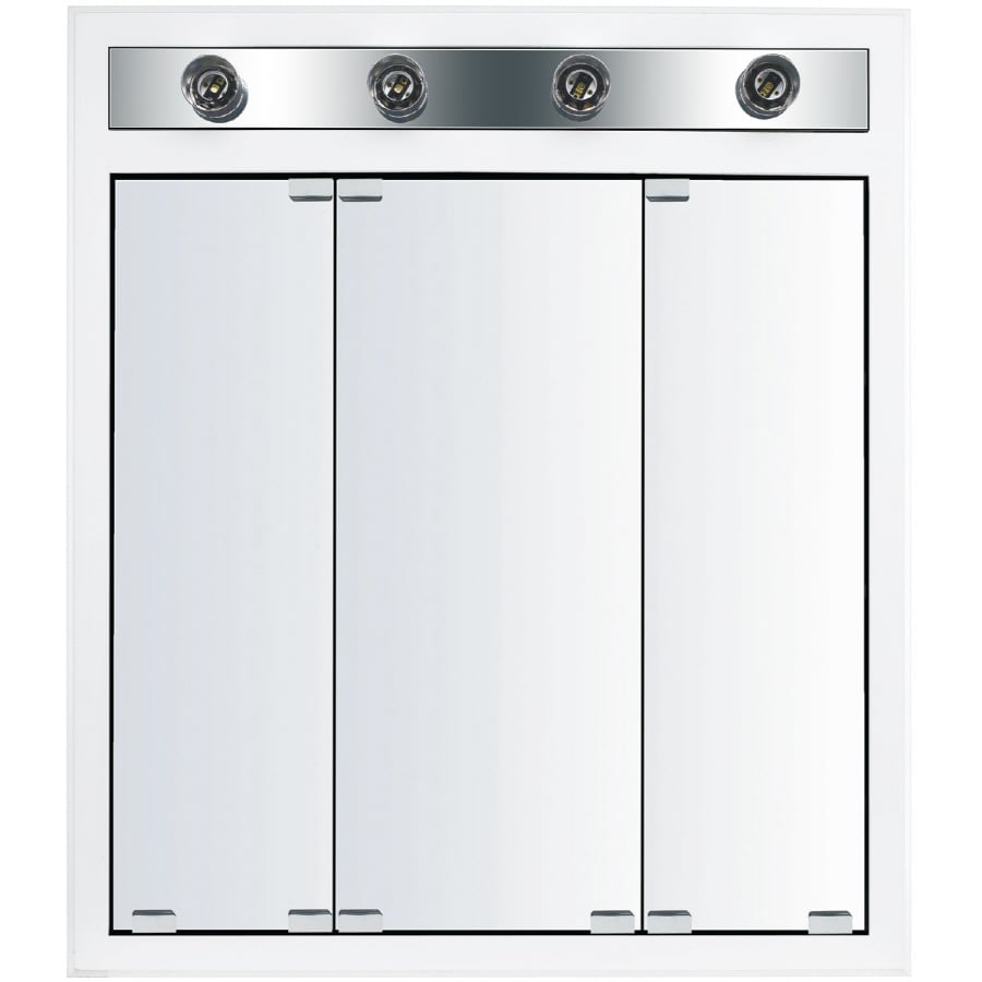 KraftMaid Traditional 29-in x 33-in Square Surface/Recessed Mirrored Wood Medicine Cabinet with Lights