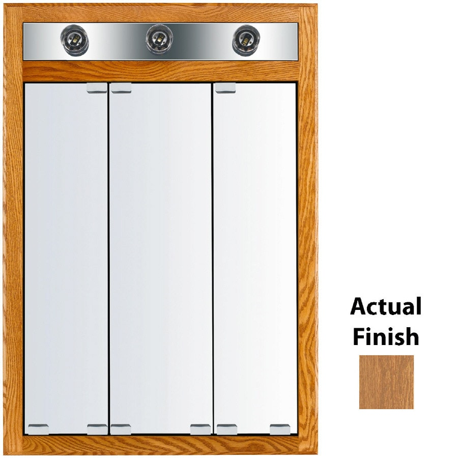 KraftMaid Traditional 24-in x 35-in Square Surface/Recessed Mirrored Wood Medicine Cabinet with Light