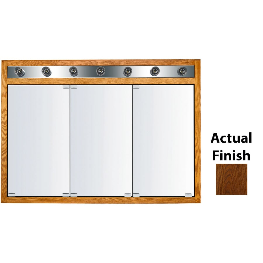 KraftMaid Traditional 47-in x 33-in Square Surface/Recessed Mirrored Wood Medicine Cabinet with Light
