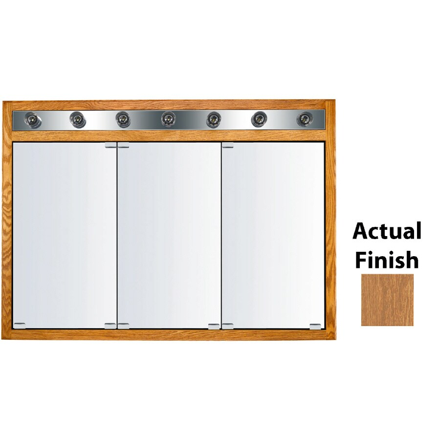 KraftMaid Traditional 47-in x 33-in Square Surface/Recessed Mirrored Wood Medicine Cabinet Lighted