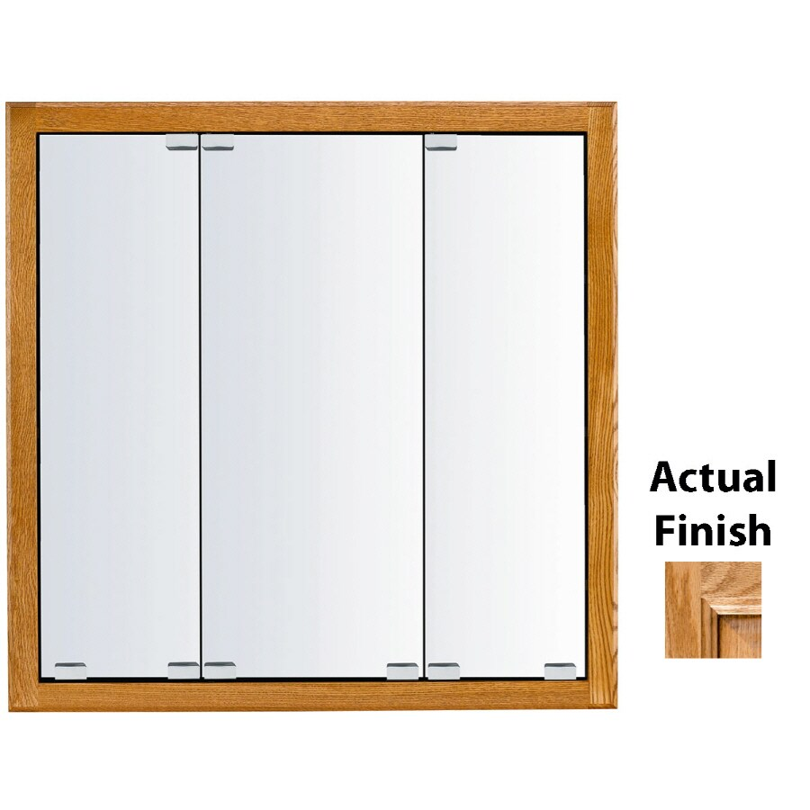 KraftMaid Traditional 29-in x 28-in Square Surface/Recessed Mirrored Wood Medicine Cabinet