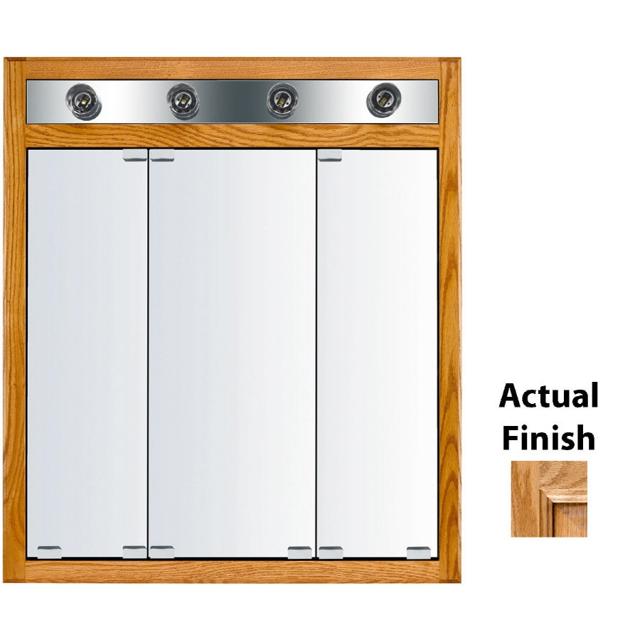 KraftMaid Classic 30-in x 35-in Square Surface/Recessed Mirrored Wood Medicine Cabinet with Light